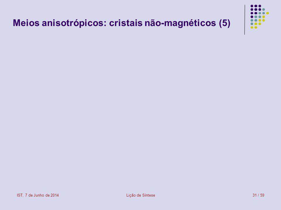 IST, 7 de Junho de 2014Lição de Síntese31 / 59 Meios anisotrópicos: cristais não-magnéticos (5)