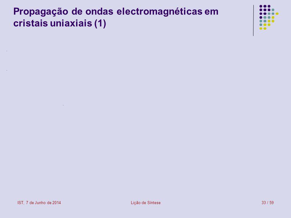 IST, 7 de Junho de 2014Lição de Síntese33 / 59 Propagação de ondas electromagnéticas em cristais uniaxiais (1)