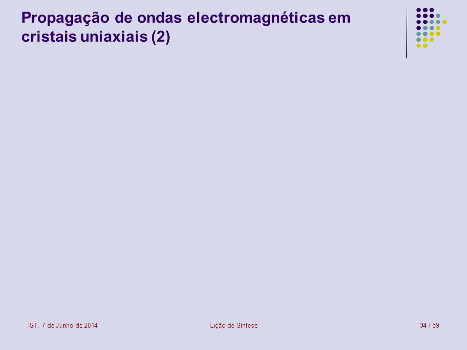IST, 7 de Junho de 2014Lição de Síntese34 / 59 Propagação de ondas electromagnéticas em cristais uniaxiais (2) onda ordinária onda extraordinária