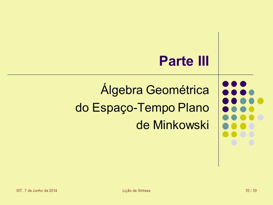 Parte III Álgebra Geométrica do Espaço-Tempo Plano de Minkowski IST, 7 de Junho de 2014Lição de Síntese35 / 59