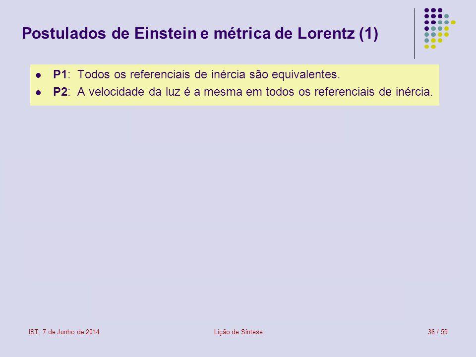 IST, 7 de Junho de 2014Lição de Síntese36 / 59 Postulados de Einstein e métrica de Lorentz (1) P1: Todos os referenciais de inércia são equivalentes.