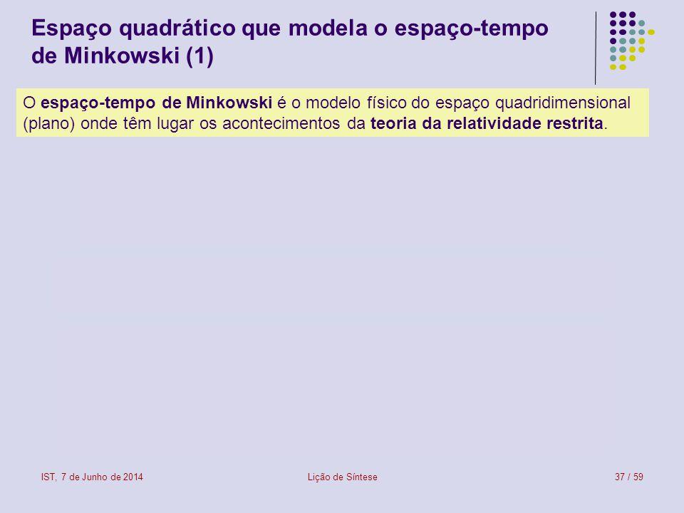 IST, 7 de Junho de 2014Lição de Síntese38 / 59 Espaço quadrático que modela o espaço-tempo de Minkowski (2) Um espaço linear (ou vectorial) dotado de uma forma quadrática diz-se um espaço quadrático.