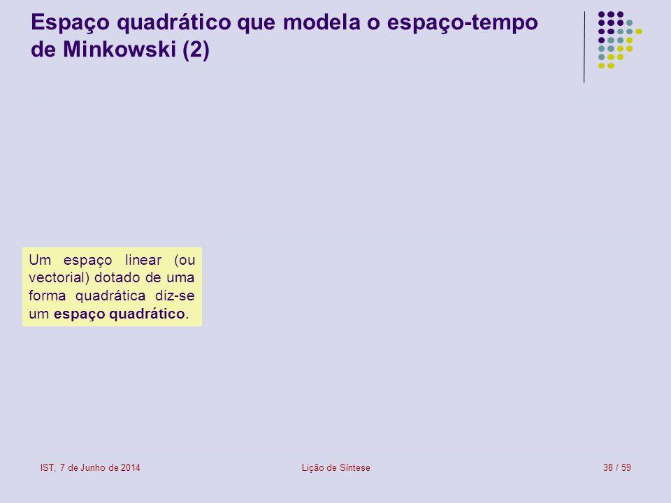 IST, 7 de Junho de 2014Lição de Síntese38 / 59 Espaço quadrático que modela o espaço-tempo de Minkowski (2) Um espaço linear (ou vectorial) dotado de