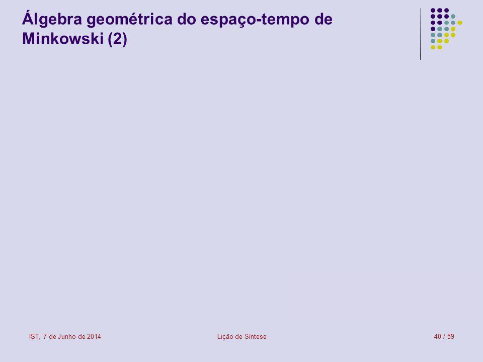IST, 7 de Junho de 2014Lição de Síntese40 / 59 Álgebra geométrica do espaço-tempo de Minkowski (2)