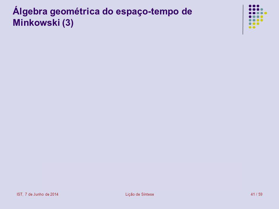 IST, 7 de Junho de 2014Lição de Síntese41 / 59 Álgebra geométrica do espaço-tempo de Minkowski (3)