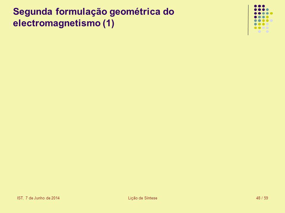 IST, 7 de Junho de 2014Lição de Síntese49 / 59 Segunda formulação geométrica do electromagnetismo (2) Os bivectores de Faraday e de Maxwell são os bivectores fundamentais do campo electromagnético descrito no espaço-tempo de Minkowski.