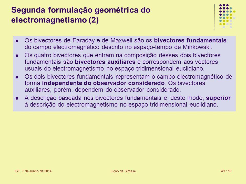 IST, 7 de Junho de 2014Lição de Síntese49 / 59 Segunda formulação geométrica do electromagnetismo (2) Os bivectores de Faraday e de Maxwell são os biv