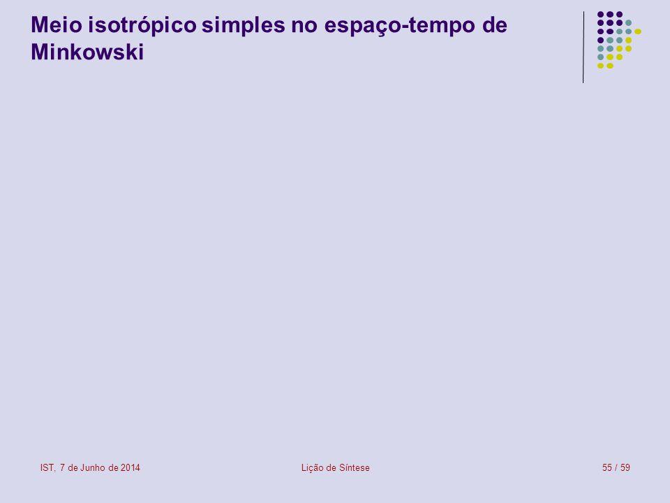IST, 7 de Junho de 2014Lição de Síntese56 / 59 Meio isotrópico simples em movimento (1) Um meio isotrópico simples (assim classificado no seu referencial próprio) é, do ponto de vista do laboratório (onde é visto em movimento), como um meio bianisotrópico.