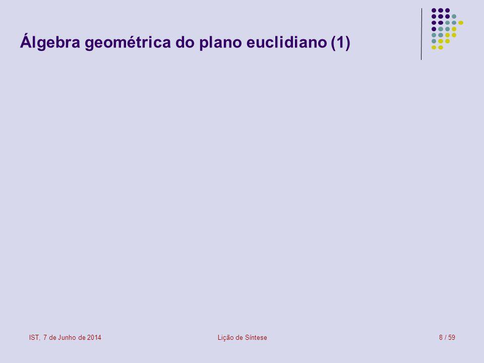 IST, 7 de Junho de 2014Lição de Síntese9 / 59 Álgebra geométrica do plano euclidiano (2)