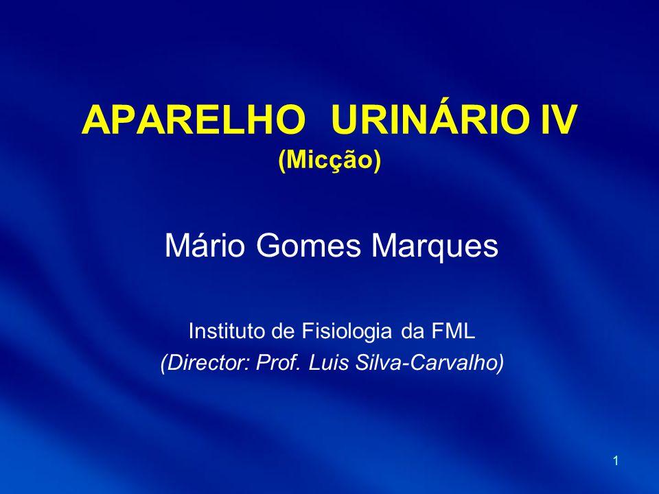 1 APARELHO URINÁRIO IV (Micção) Mário Gomes Marques Instituto de Fisiologia da FML (Director: Prof. Luis Silva-Carvalho)