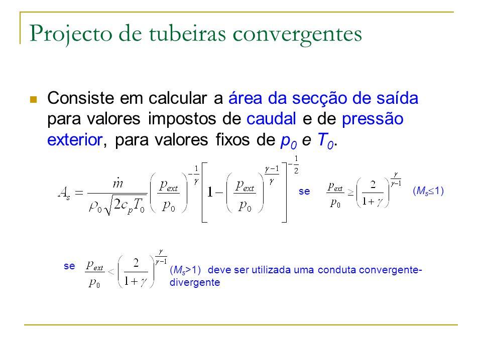 Projecto de tubeiras convergentes Consiste em calcular a área da secção de saída para valores impostos de caudal e de pressão exterior, para valores f