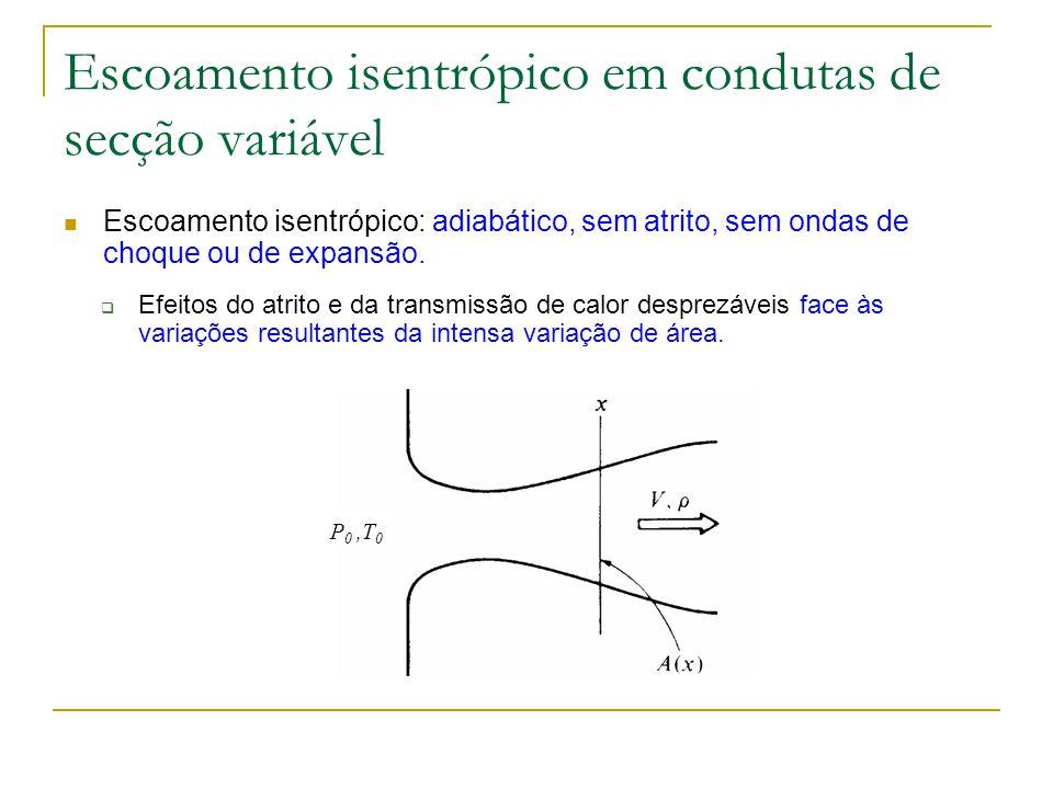 Escoamento isentrópico em condutas de secção variável Exaustão isentrópica de um reservatório pressurizado: Definição de T 0 : Escoamento isentrópico: e x é a direcção longitudinal – são constantes em x P 0,T 0