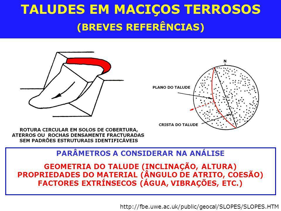 TALUDES EM MACIÇOS TERROSOS (BREVES REFERÊNCIAS) PARÂMETROS A CONSIDERAR NA ANÁLISE GEOMETRIA DO TALUDE (INCLINAÇÃO, ALTURA) PROPRIEDADES DO MATERIAL
