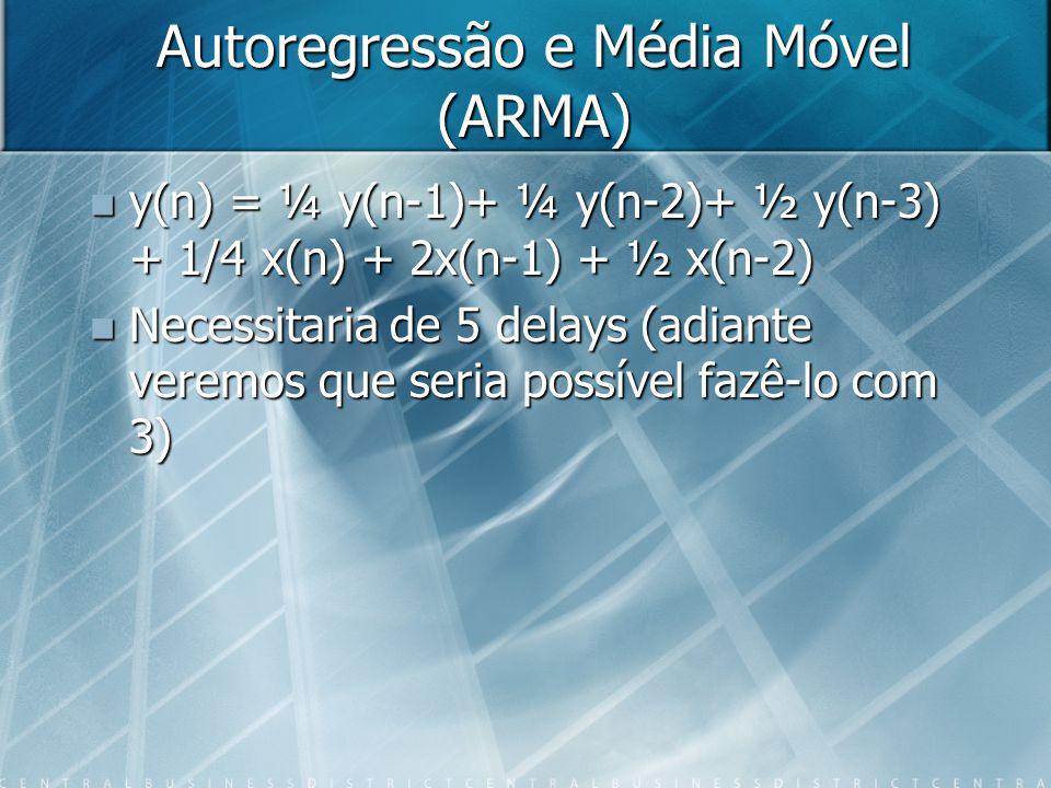 Autoregressão e Média Móvel (ARMA) y(n) = ¼ y(n-1)+ ¼ y(n-2)+ ½ y(n-3) + 1/4 x(n) + 2x(n-1) + ½ x(n-2) y(n) = ¼ y(n-1)+ ¼ y(n-2)+ ½ y(n-3) + 1/4 x(n)