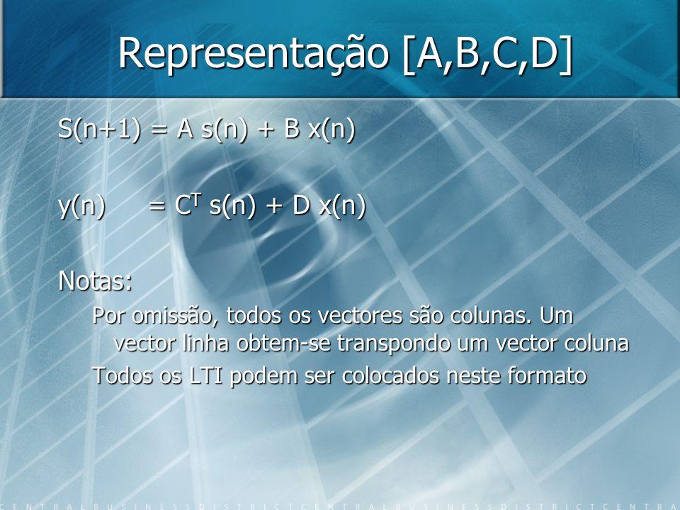 Representação [A,B,C,D] S(n+1) = A s(n) + B x(n) y(n) = C T s(n) + D x(n) Notas: Por omissão, todos os vectores são colunas. Um vector linha obtem-se