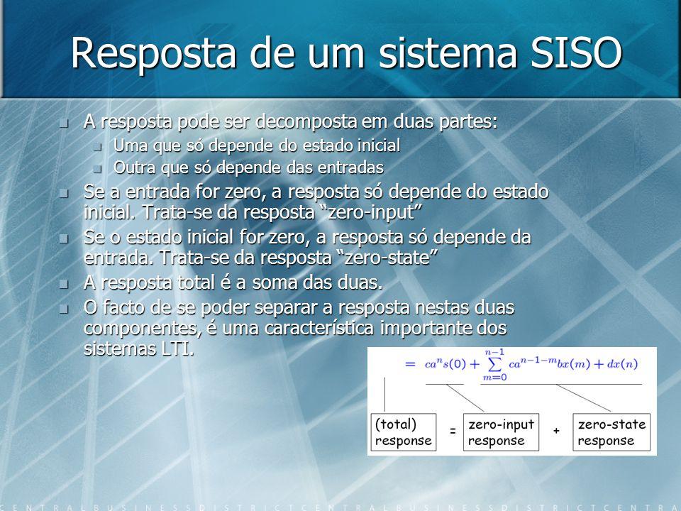Resposta de um sistema SISO A resposta pode ser decomposta em duas partes: A resposta pode ser decomposta em duas partes: Uma que só depende do estado