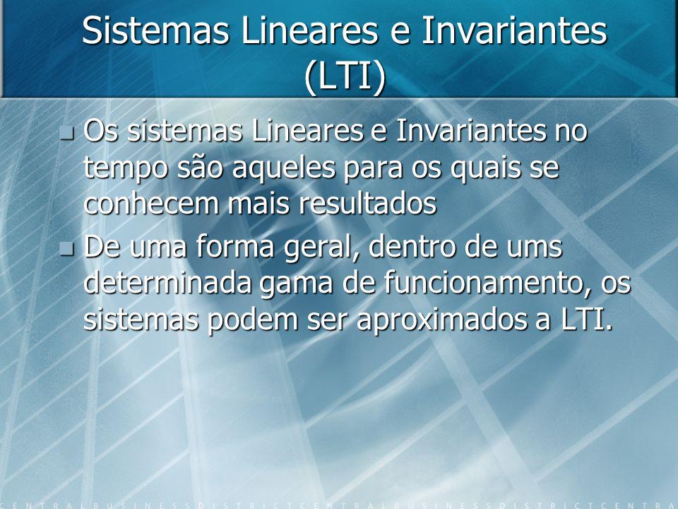 Sistemas Lineares e Invariantes (LTI) Os sistemas Lineares e Invariantes no tempo são aqueles para os quais se conhecem mais resultados Os sistemas Li