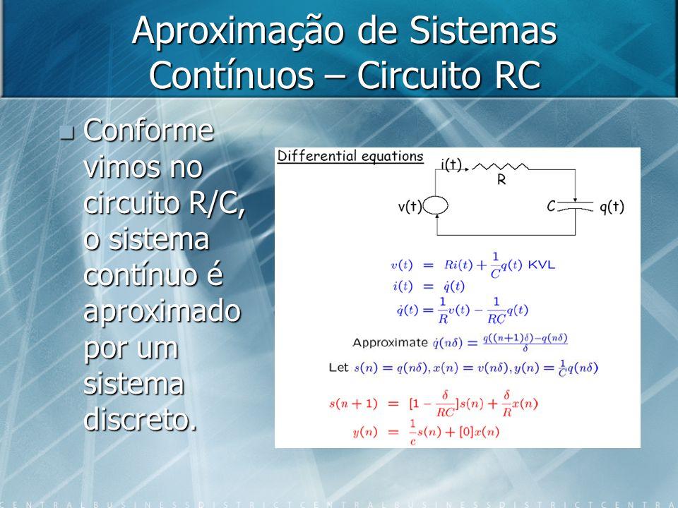 Aproximação de Sistemas Contínuos – Circuito RC Conforme vimos no circuito R/C, o sistema contínuo é aproximado por um sistema discreto. Conforme vimo