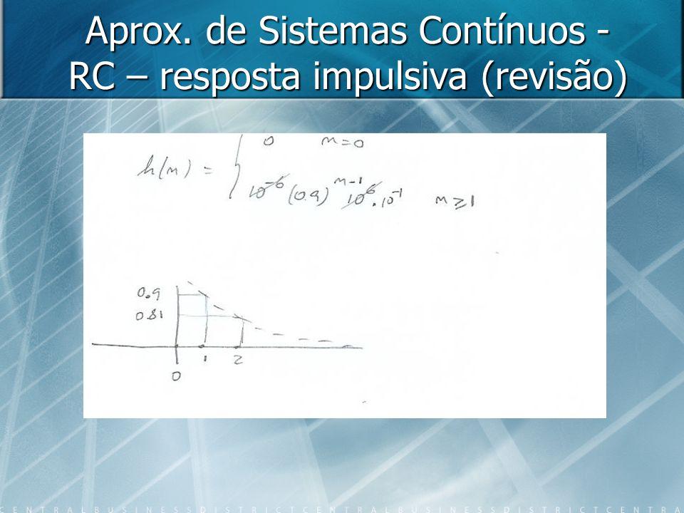 Aprox. de Sistemas Contínuos - RC – resposta impulsiva (revisão)
