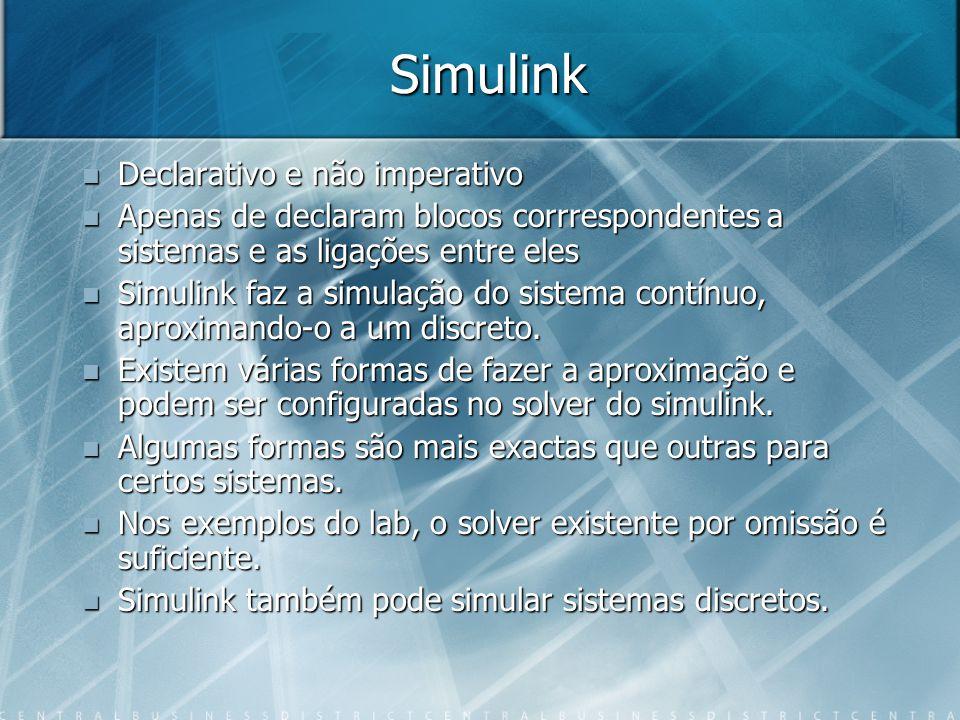 Simulink Declarativo e não imperativo Declarativo e não imperativo Apenas de declaram blocos corrrespondentes a sistemas e as ligações entre eles Apen