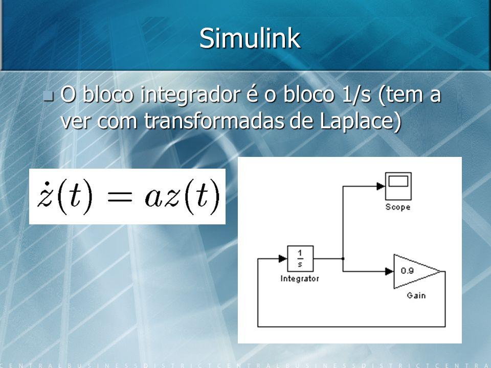 Simulink O bloco integrador é o bloco 1/s (tem a ver com transformadas de Laplace) O bloco integrador é o bloco 1/s (tem a ver com transformadas de La