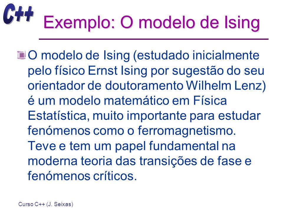 Curso C++ (J. Seixas) Exemplo: O modelo de Ising O modelo de Ising (estudado inicialmente pelo físico Ernst Ising por sugestão do seu orientador de do