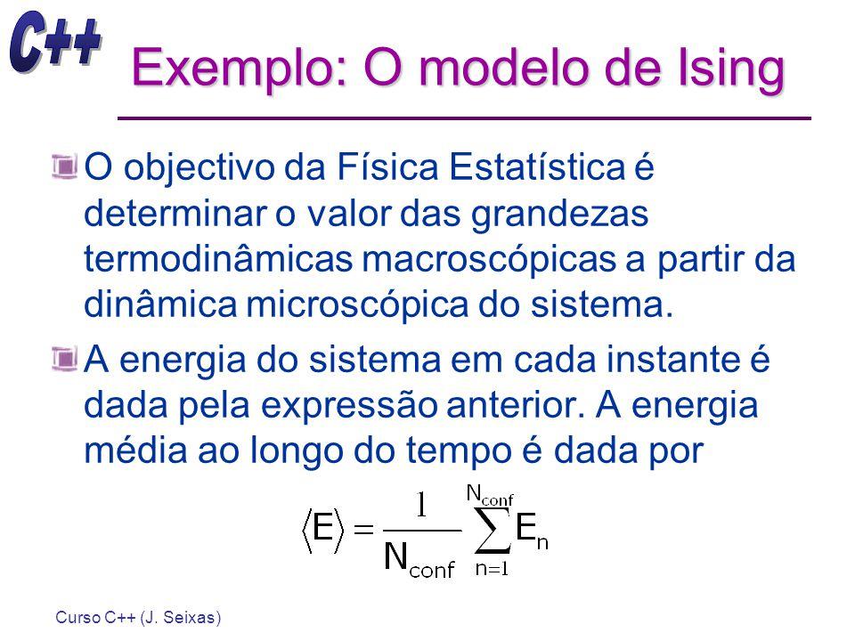 Curso C++ (J. Seixas) Exemplo: O modelo de Ising O objectivo da Física Estatística é determinar o valor das grandezas termodinâmicas macroscópicas a p