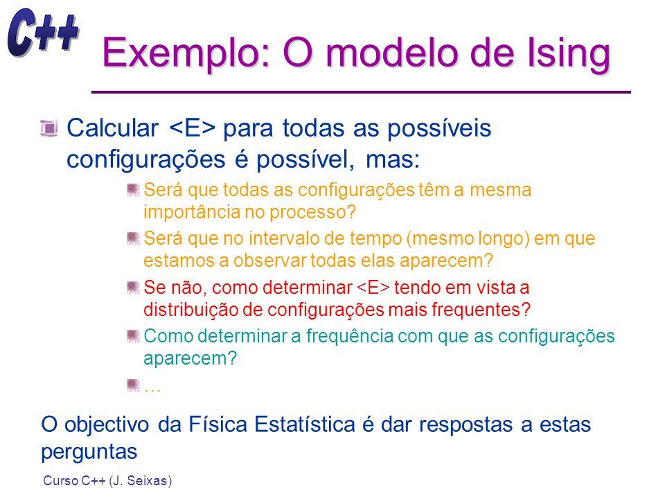 Curso C++ (J. Seixas) Exemplo: O modelo de Ising Calcular para todas as possíveis configurações é possível, mas: Será que todas as configurações têm a