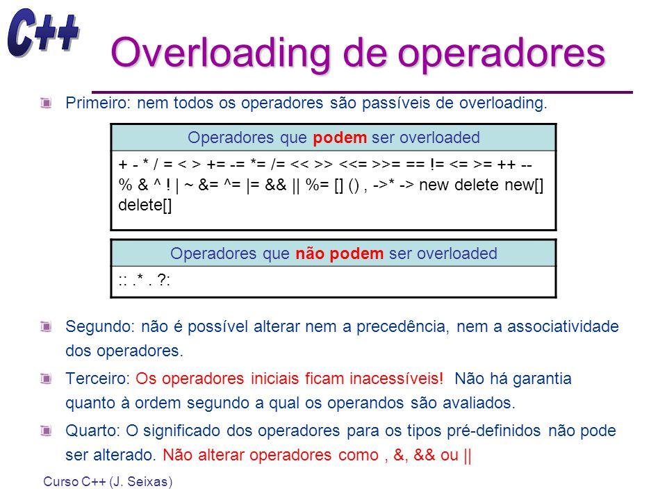 Curso C++ (J. Seixas) Overloading de operadores Primeiro: nem todos os operadores são passíveis de overloading. Segundo: não é possível alterar nem a
