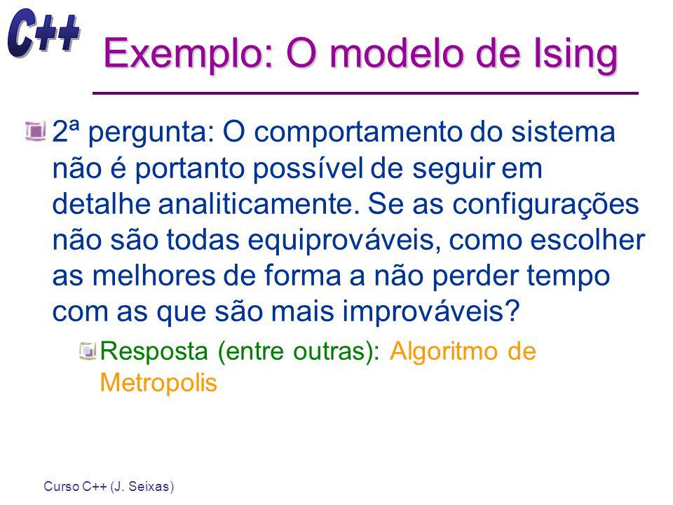 Curso C++ (J. Seixas) Exemplo: O modelo de Ising 2ª pergunta: O comportamento do sistema não é portanto possível de seguir em detalhe analiticamente.