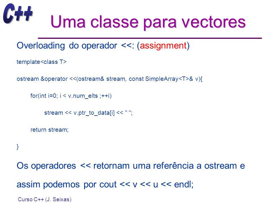 Curso C++ (J. Seixas) Uma classe para vectores Overloading do operador <<: (assignment) template ostream &operator & v){ for(int i=0; i < v.num_elts ;