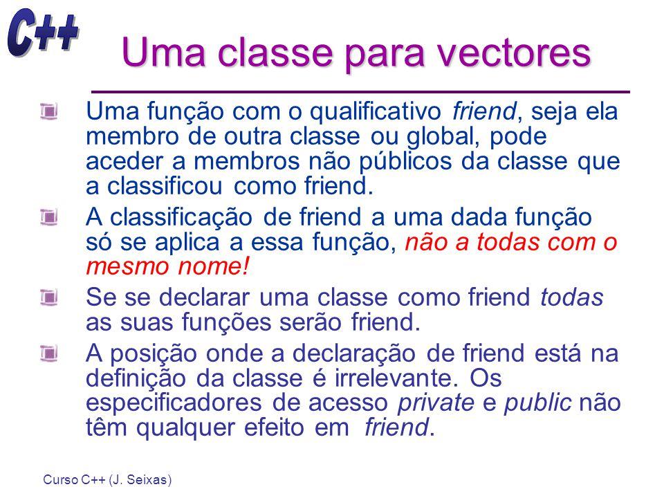 Curso C++ (J. Seixas) Uma classe para vectores Uma função com o qualificativo friend, seja ela membro de outra classe ou global, pode aceder a membros