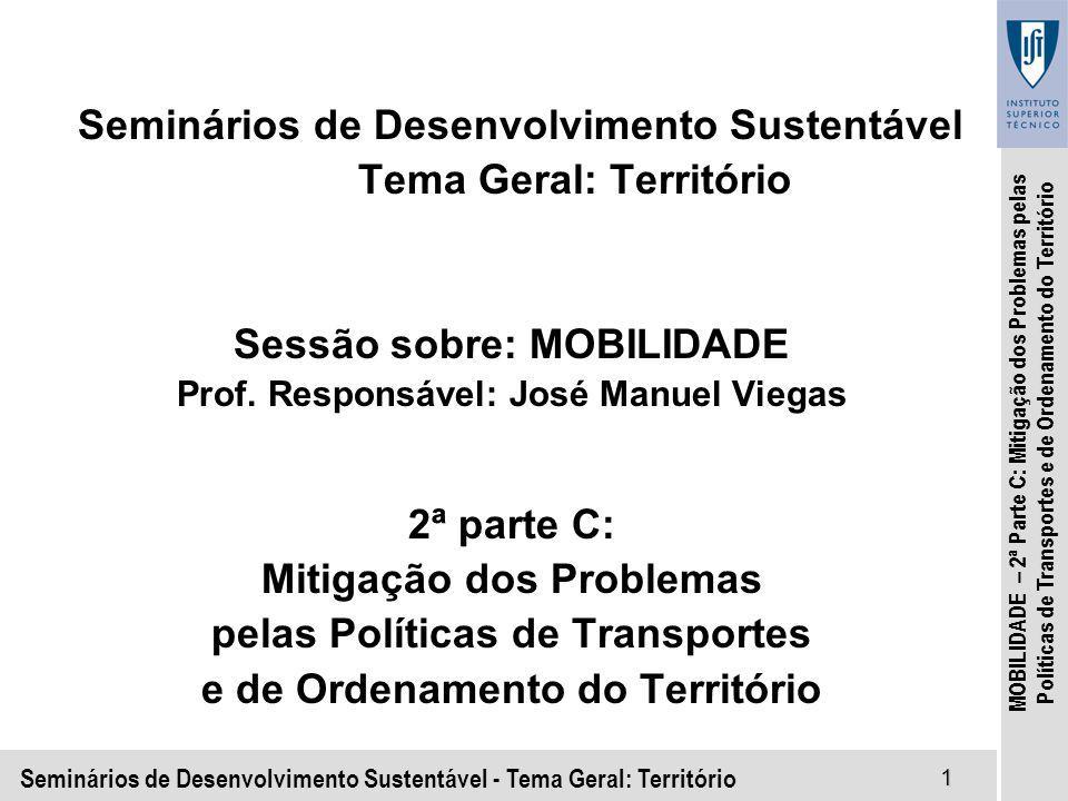 Seminários de Desenvolvimento Sustentável - Tema Geral: Território1 MOBILIDADE – 2ª Parte C: Mitigação dos Problemas pelas Políticas de Transportes e de Ordenamento do Território Seminários de Desenvolvimento Sustentável Tema Geral: Território Sessão sobre: MOBILIDADE Prof.