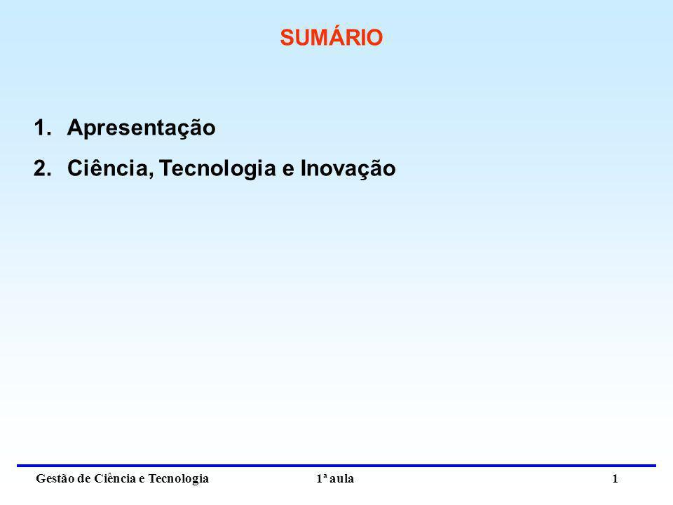 Gestão de Ciência e Tecnologia 1ª aula 1 SUMÁRIO 1.Apresentação 2.Ciência, Tecnologia e Inovação