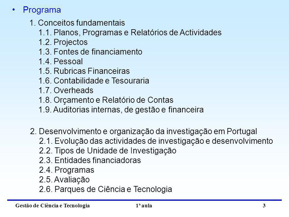 Gestão de Ciência e Tecnologia 1ª aula 3 Programa 1. Conceitos fundamentais 1.1. Planos, Programas e Relatórios de Actividades 1.2. Projectos 1.3. Fon