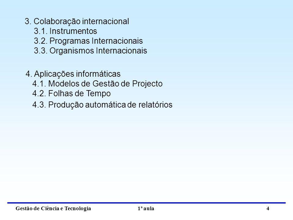 Gestão de Ciência e Tecnologia 1ª aula 4 3. Colaboração internacional 3.1. Instrumentos 3.2. Programas Internacionais 3.3. Organismos Internacionais 4