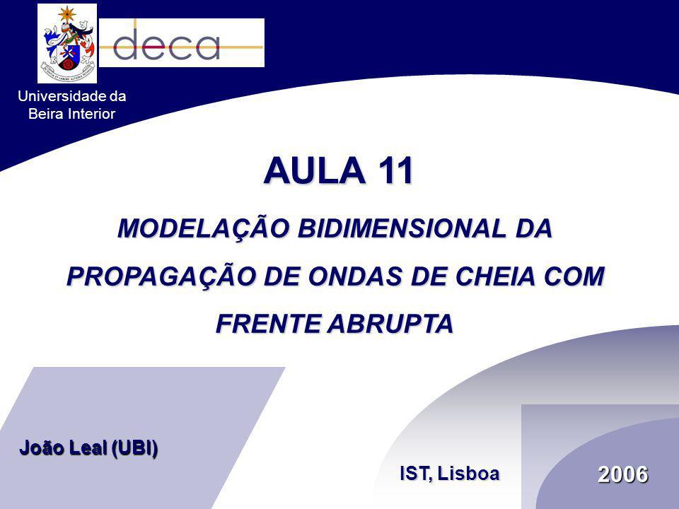 2006 MODELAÇÃO BIDIMENSIONAL DA PROPAGAÇÃO DE ONDAS DE CHEIA COM FRENTE ABRUPTA IST, Lisboa João Leal (UBI) Universidade da Beira Interior AULA 11