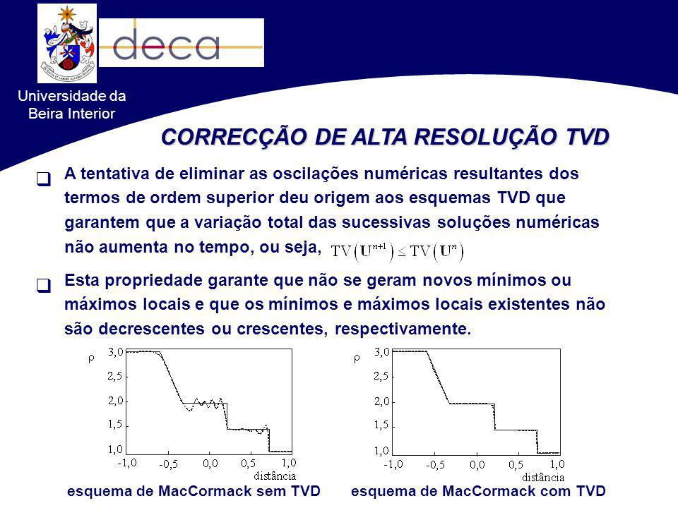Universidade da Beira Interior A tentativa de eliminar as oscilações numéricas resultantes dos termos de ordem superior deu origem aos esquemas TVD qu