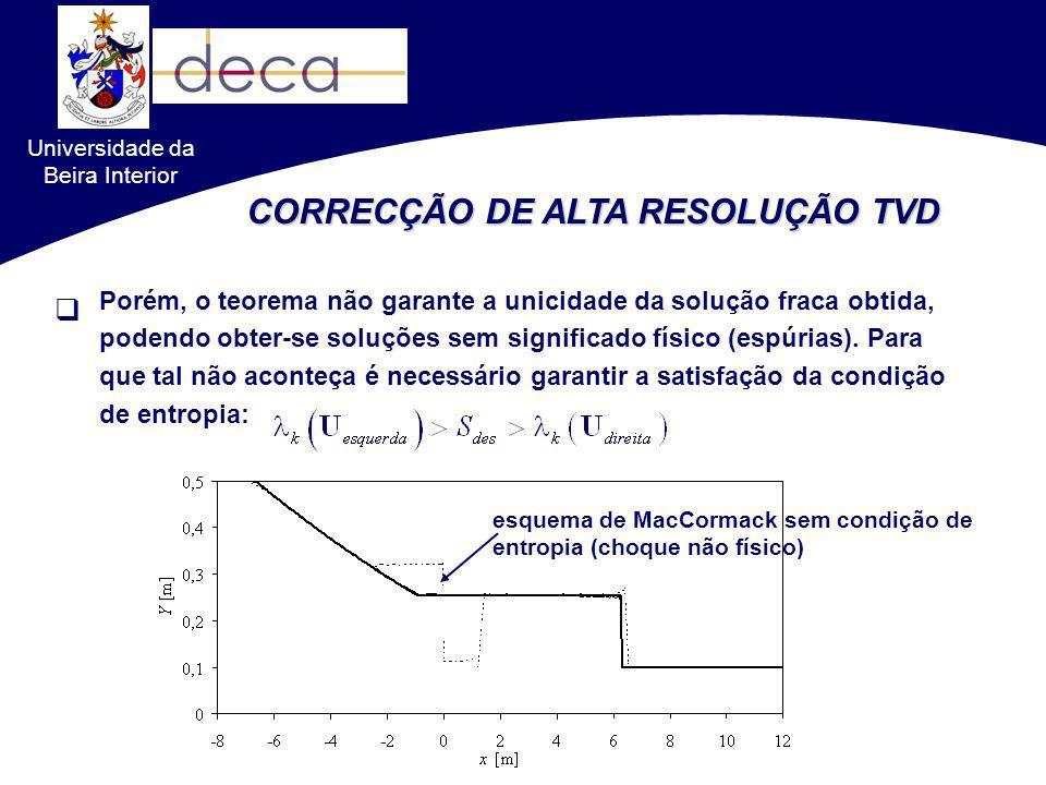 Universidade da Beira Interior CORRECÇÃO DE ALTA RESOLUÇÃO TVD Porém, o teorema não garante a unicidade da solução fraca obtida, podendo obter-se solu