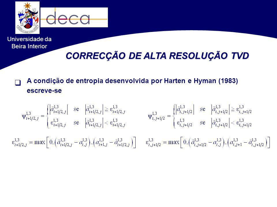 Universidade da Beira Interior CORRECÇÃO DE ALTA RESOLUÇÃO TVD A condição de entropia desenvolvida por Harten e Hyman (1983) escreve-se