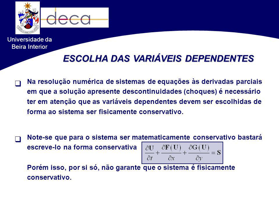 Universidade da Beira Interior ESCOLHA DAS VARIÁVEIS DEPENDENTES Na resolução numérica de sistemas de equações às derivadas parciais em que a solução