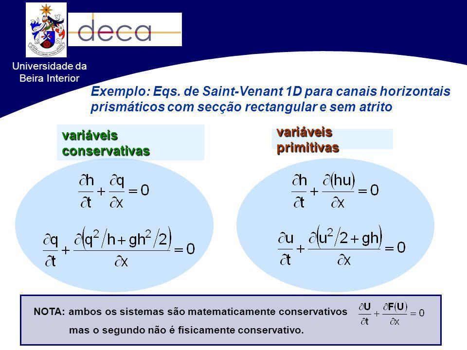 Exemplo: Eqs. de Saint-Venant 1D para canais horizontais prismáticos com secção rectangular e sem atrito variáveis conservativas variáveis primitivas