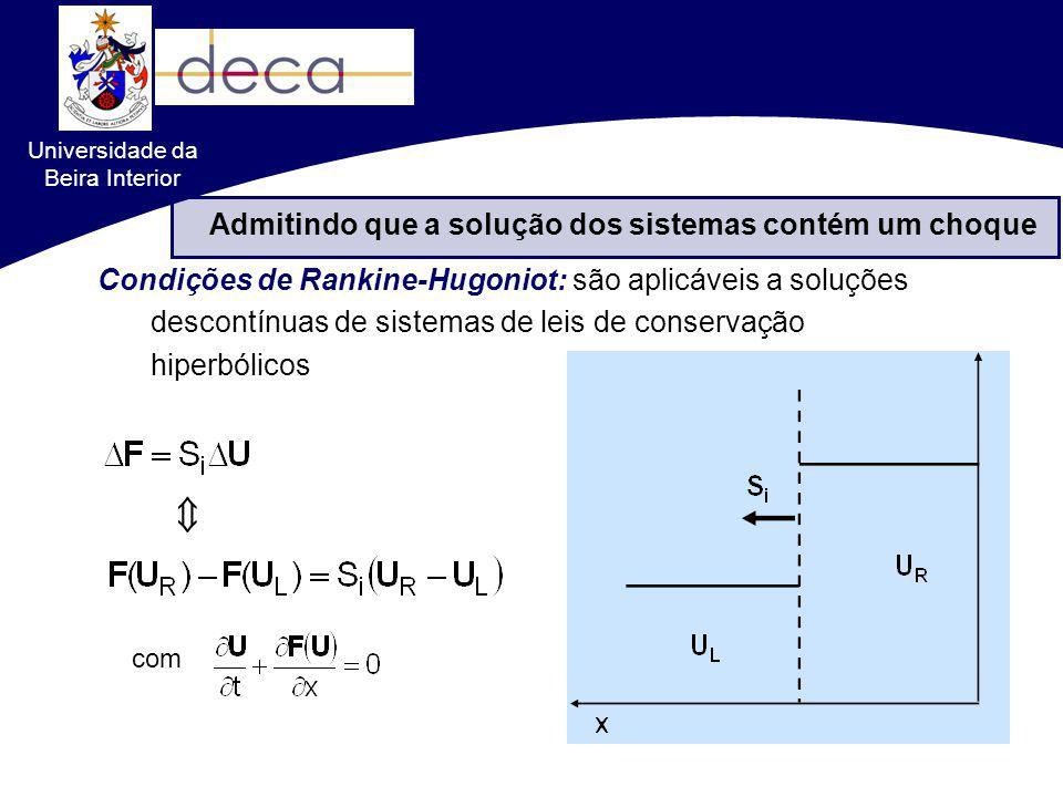 Admitindo que a solução dos sistemas contém um choque com Formulações conservativas VS. não-conservativas Condições de Rankine-Hugoniot: são aplicávei