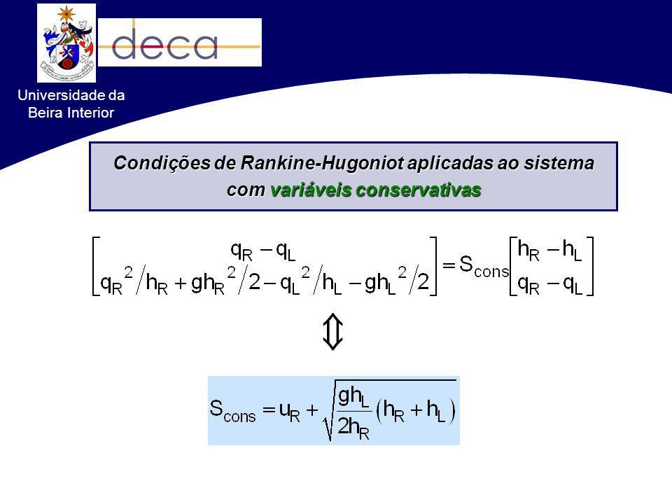 Formulações conservativas VS. não-conservativas Condições de Rankine-Hugoniot aplicadas ao sistema com variáveis conservativas Universidade da Beira I