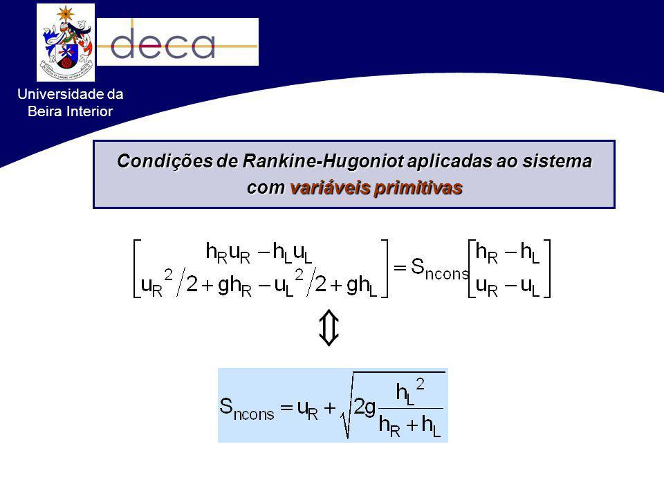 Formulações conservativas VS. não-conservativas Condições de Rankine-Hugoniot aplicadas ao sistema com variáveis primitivas Universidade da Beira Inte