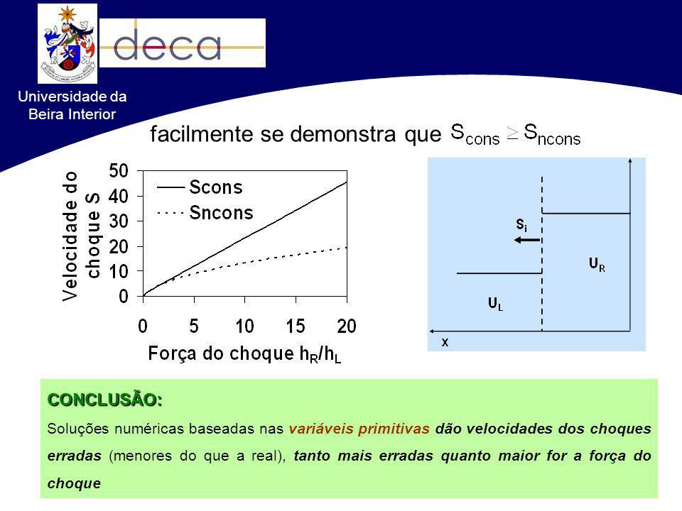 Formulações conservativas VS. não-conservativas facilmente se demonstra queCONCLUSÃO: Soluções numéricas baseadas nas variáveis primitivas dão velocid