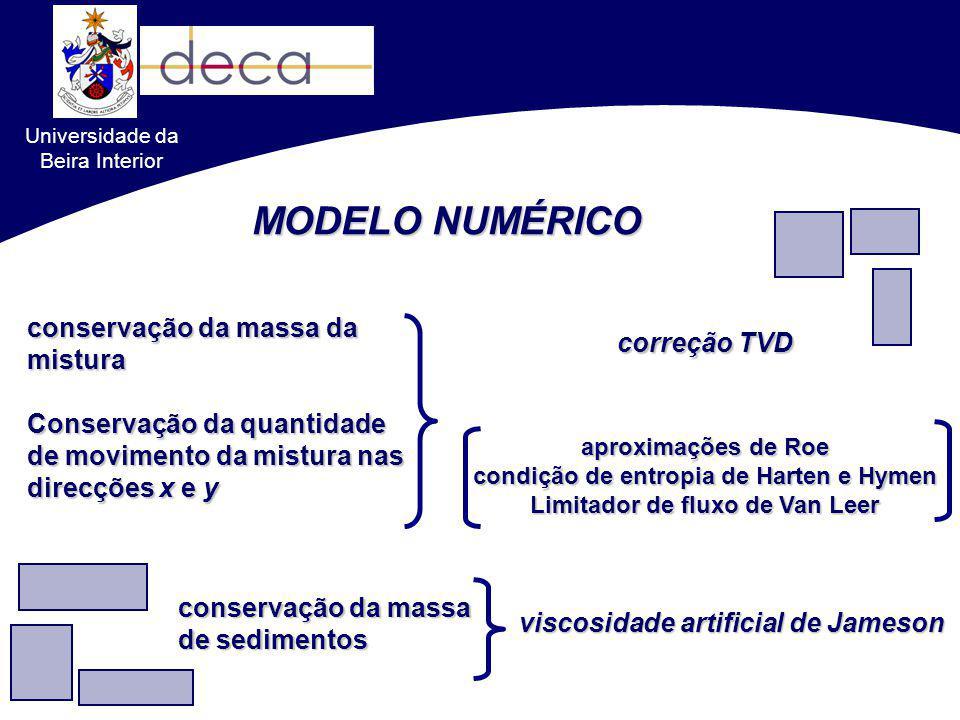 MODELO NUMÉRICO conservação da massa da mistura Conservação da quantidade de movimento da mistura nas direcções x e y aproximações de Roe condição de