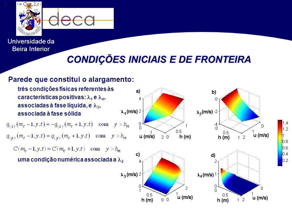 Universidade da Beira Interior CONDIÇÕES INICIAIS E DE FRONTEIRA três condições físicas referentes às características positivas: 1 e 4, associadas à f