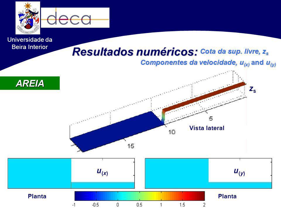 AREIA u(x)u(x) u(y)u(y) Planta Vista lateral zszs Resultados numéricos: Cota da sup. livre, z s Componentes da velocidade, u (x) and u (y) Universidad