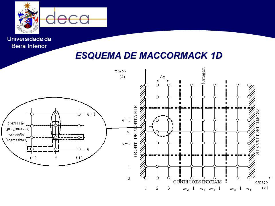 Universidade da Beira Interior ESQUEMA DE MACCORMACK 2D Diferenças Finitas Previsão Correcção Aplicação alternada de diferenças progressivas e regressivas, respectivamente, nos passos de previsão e de correcção e também nos fluxos segundo x (F) e segundo y (G)